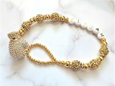 Gold Shamballa Boxing Glove Diamante Personalised Crystal Bling Baby dummy clip