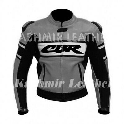 New Mens Custom Made Gray CBR Racing Motorcycle Bike Cowhide Leather Jacket Hump