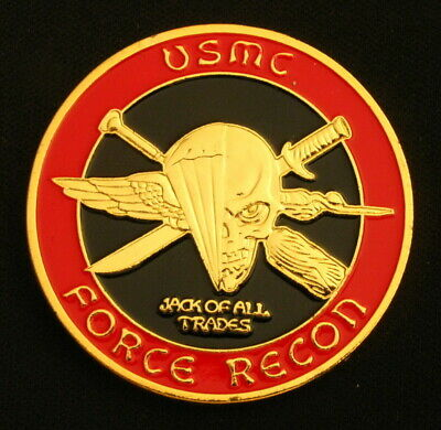 US Marine Corps Sea Soul Skull Badge Force Recon Gold Plated Challenge Coin