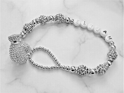 Silver Shamballa Boxing Glove Diamante Personalise Crystal Bling Baby dummy clip