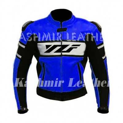 Made To Order Blue Racing YZF Motorcycle Biker Cowhide Leather Jacket Speed Hump