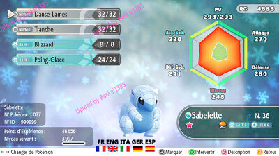 Pokemon Let's Go Alolan Sandshrew Shiny Custom/lvl/6IV/AVs