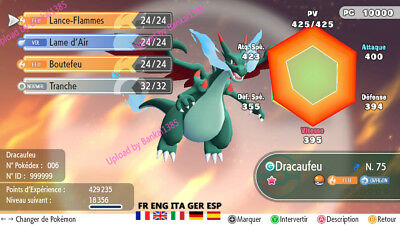 pokemon Let's Go Charizard Mega X Shiny definitiv form Custom/lvl/6IV/AVs