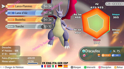 pokemon Let's Go Charizard Mega Y shiny definitiv form Custom/lvl/6IV/AVs