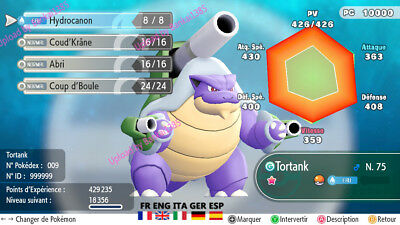pokemon Let's Go Blastoise Mega shiny definitiv form Custom/lvl/6IV/AVs