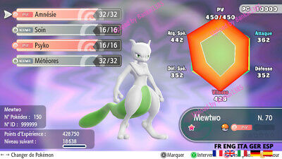 pokemon Let's Go Mewtwo shiny Available Custom/ lvl/6IV/AVs
