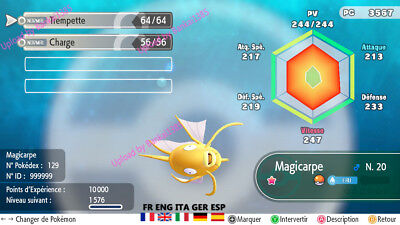 Pokemon Let's Go Magikarp shiny Custom/lvl/6IV/AVs