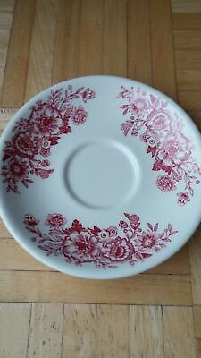 Homer Laughlin Very Heavy Red Flowers Restaurant Ware Saucer-Excellent Condition