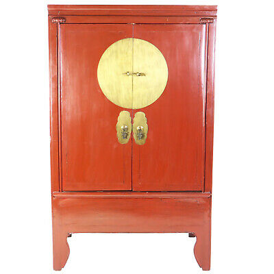"Antique Chinese Red 2 Door Wedding Armoire Wardrobe Cabinet 42"" W 28"" D 69"" T"