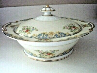 """VINTAGE white w/floral NORITAKE  COVERED CASSEROLE DISH BACK STAMP """"M"""""""