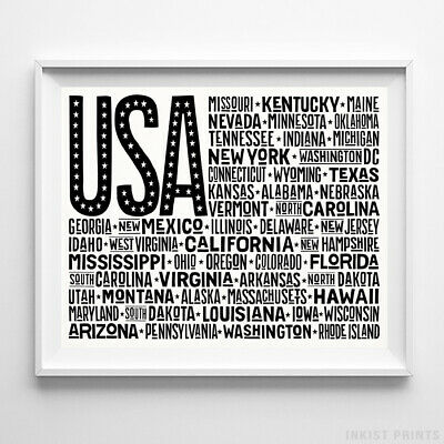 USA Flag Poster US United States Print Typography Home Decor Wall Art W UNFRAMED
