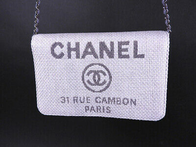 bfee25bf9f6c63 Chanel Deauville chain wallet shoulder bag straw canvas silver beige A80795