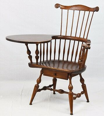 WALLACE NUTTING WINDSOR CHAIR Comb-Back Writing Armchair Williamsburg Style