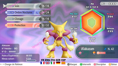 Pokemon Let's Go Alakazam Shiny Custom/lvl/6IV/AVs