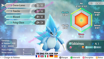 Pokemon Let's Go Alolan Sandslash Shiny Custom/lvl/6IV/AVs