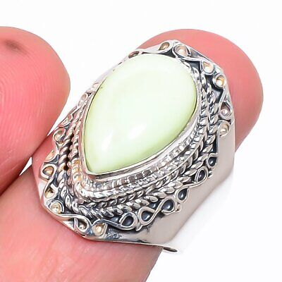 Fine Jewelry Australian Lemon Chrysoprase 925 Sterling Silver Ring Adst Up-To-Date Styling