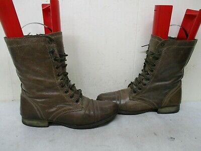 c9ce24afb97 STEVE MADDEN TROOPA Stone Leather Zip Lace Combat Boots Size 9 M