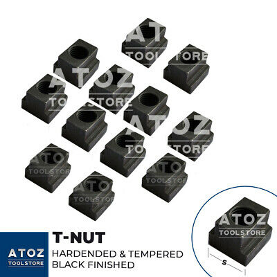 12 Pcs HEAVY T-Nuts M8 - M30 T-Slot size 10mm - 36mm BLACK, HARDENED & TEMPERED