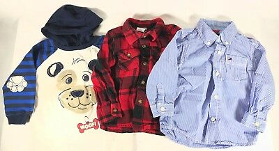 Toddler Long Sleeve Shirt Lot of 3 Button Front Hoodie Boys Size 24M EUC