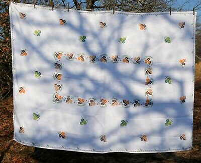 Vtg  Embroidered Cross-stitched AUTUMN  FALL COLORS  Table Cloth 56x75""
