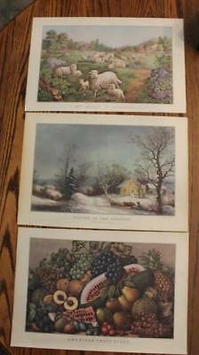 Vintage Currier & Ives Prints Springtime Meadow Winter In The Country American