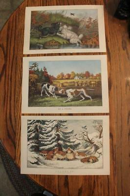 Vintage Currier & Ives Prints Snowed Up Ruffed Grouse On Point Flushing Woodcock
