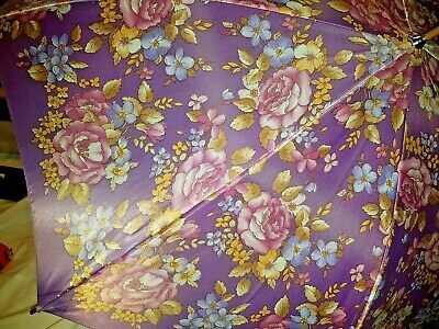"Vintage Nylon Purple Flowers FLoral Umbrella Korea 31"" L"