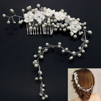Wedding Bridal Bride Women's Headpiece Headband Crystal Pearl Hair Comb Flowers