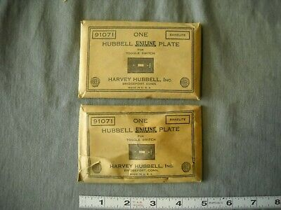 Vintage Hubbell Uniline Switch Plate Brown Bakelite 91071 Lot Of 2 Nos Usa Wall