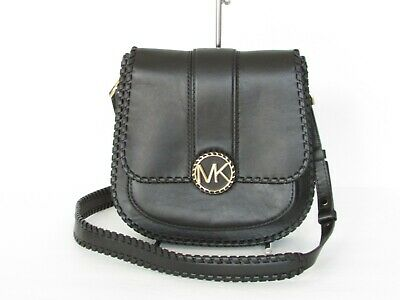 1697912b969d NEW MICHAEL KORS Lillie Medium Flap Messenger Black Leather Shoulder ...