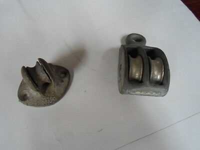 Two Vintage Galvanized Marine Pulleys  -Double - Plate - Fixed - Swivel