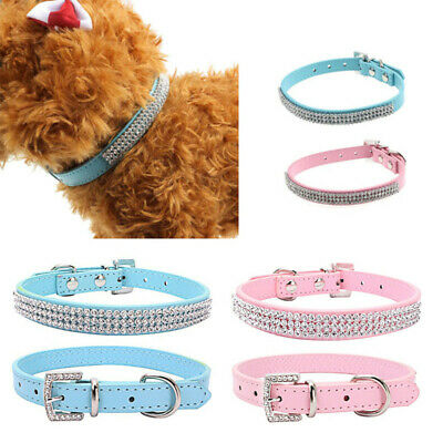 Small Pets Dog PU Leather Collar Puppy Cat Buckle Neck Strap Rhinestone Rivet 1X