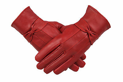 Womens Ladies 100% Red Leather Gloves With Bow Warm Winter Fleece Lined Mittens