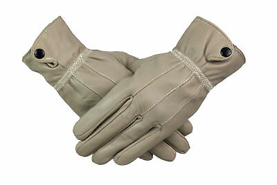 Womens Ladies 100% Beige Leather Gloves With Cuff Button Warm Fleece Lined