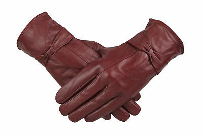 Womens Ladies 100% Dark Red Leather Gloves With Bow Warm Winter Fleece Lined
