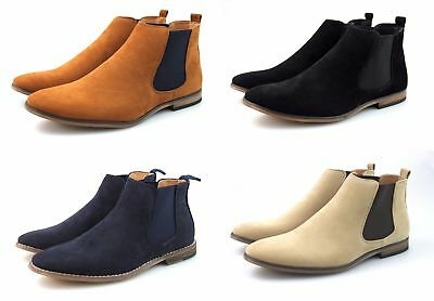 meticulous dyeing processes enjoy complimentary shipping classic shoes MENS BLACK TAN Navy Blue Beige Faux Suede Chelsea Boots Casual Smart All  Sizes