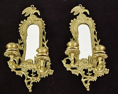 Pair Brass Chippendale Mirrored Double Arm Candle Wall Sconces Andrea by Sadek