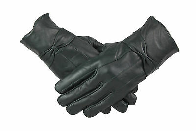 Womens Ladies 100% Green Leather Gloves With Bow Warm Winter Fleece Lined