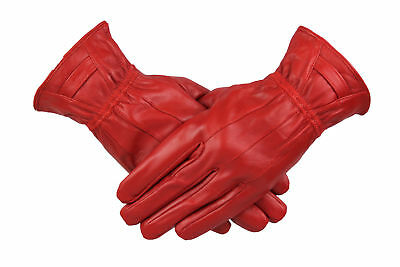 Womens Ladies 100% Red Leather Gloves With Band Warm Winter Fleece Lined