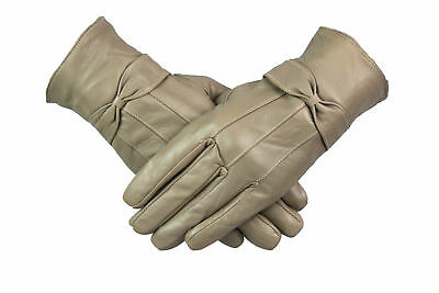 Womens Ladies 100% Beige Leather Gloves With Bow Warm Winter Fleece Lined