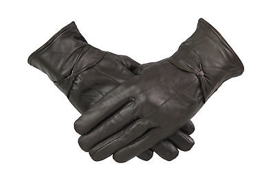 Womens Ladies 100% Brown Leather Gloves With Bow Warm Winter Fleece Lined