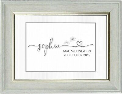 Personalised Newborn Baby Nursery Name Picture Keepsake A4 Frameless