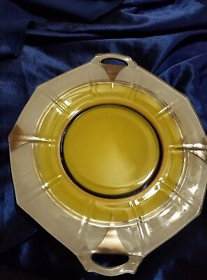 Beautiful Art Deco  Classic Indiana Glass Silver,white and Yellow Plate 1930's