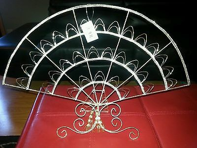 "Brilliant Ornate fan design Silver Plated Letter Holder.  huge 21"" by 15"" new"