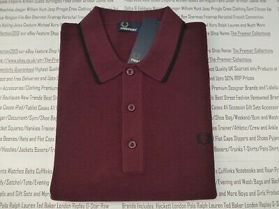 ab3c49ccd FRED PERRY 7200 Polo Mens Mahogany Size L Tipped   Pique Knitted Shirt New  R£