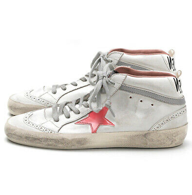 0e45562b2a39 NIB Golden Goose Women's Mid Star Mid Top Leather Sneakers White Pink  Patent 41