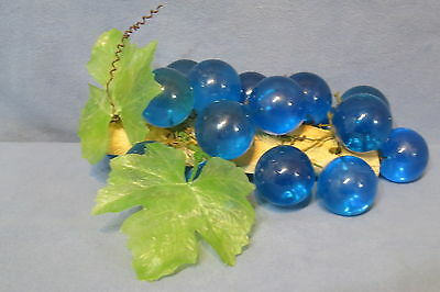 """Vintage Mid Century Acrylic Blue Grapes Cluster on Wood Branch Base 10 1/2"""" L"""