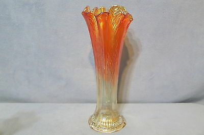 "Antique Beautiful Northwood Carnival Glass Vase Feathers Pattern 10 1/2"" Tall"