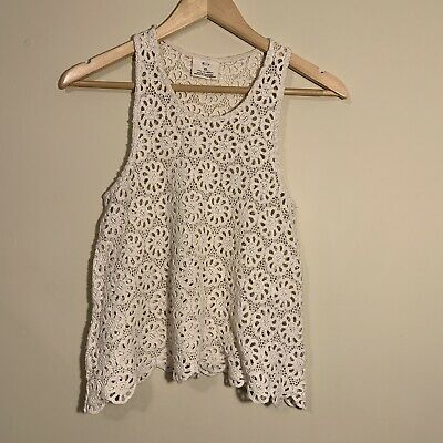 547c849db0c0c Pins and Needles Ivory Boho Crochet Floral Tank Top Women s XS Lace Festival