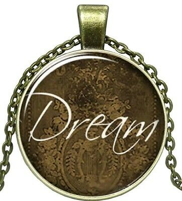 "Glass Cabochon Pendant Bronze Charm ""DREAM"" NEW Necklace X-mas Stocking Stuffer"